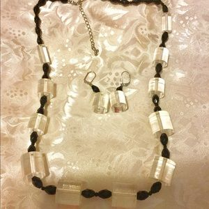Beautiful Black and Clear Bead Necklace & Earrings